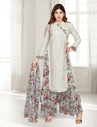 Beige cotton silk festive wear punjabi sharara suit