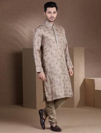 Beige cotton silk full sleeves kurta suit