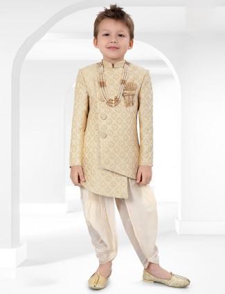 Beige cotton silk indo western for boys