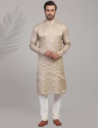 Beige cotton silk kurta with stand collar