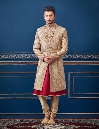 Beige designer raw silk sherwani suit for groom