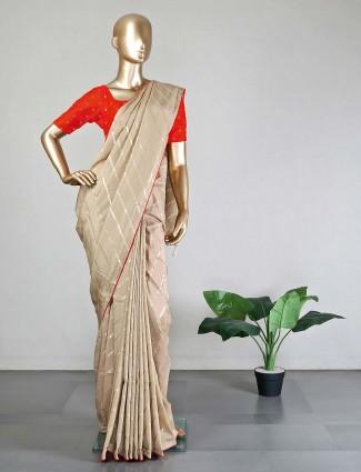 Beige dola sillk saree for wedding