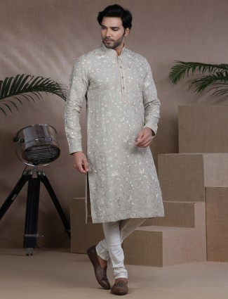 Beige embroidered pure cotton full sleeves kurta suit