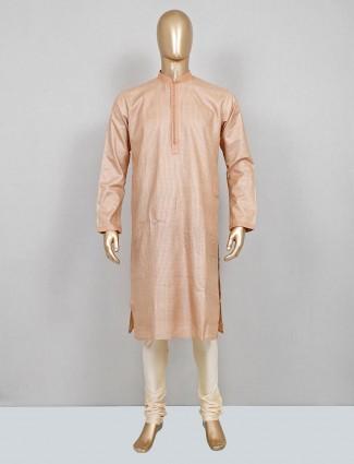 Beige festive wear cotton silk textured kurta suit
