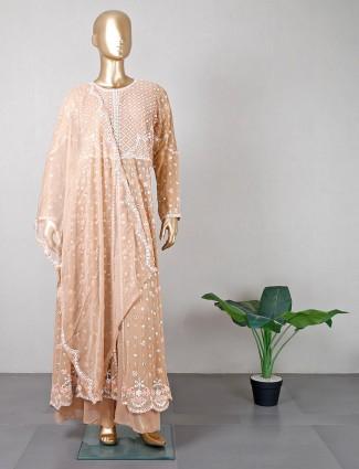 Beige festive wear palazzo suit for women