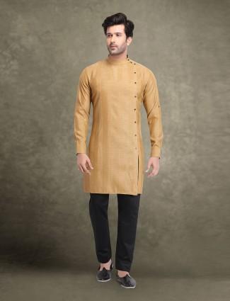 Beige full sleeves cotton kurta suit