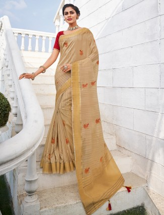 Beige handloom cotton saree with red blouse pice