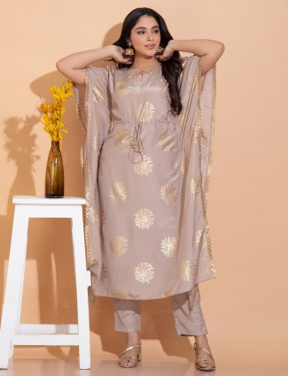 Beige hue cotton silk festive occasions punjabi kaftan style pant suit
