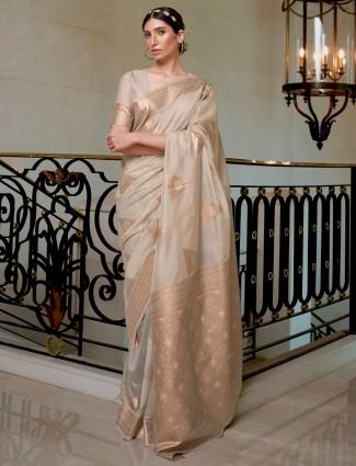 Beige hue cotton silk saree for wedding ceremonies