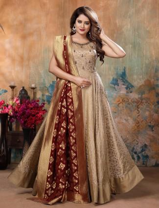 Beige hue pretty silk floor length anarkali salwar suit