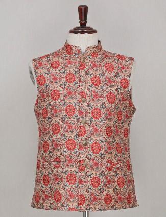 Beige hue printed silk waistcoat
