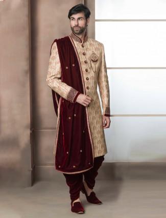Beige hue raw silk mens groom indo western for wedding