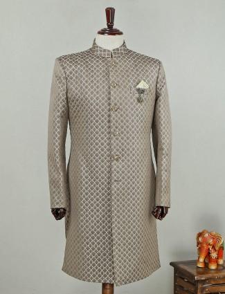 Beige hue silk wedding indo western