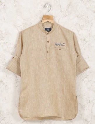 Beige hue solid cotton fabric short pathani