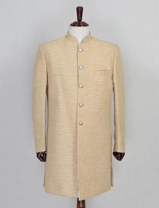 Beige khadi silk wedding wear sherwani