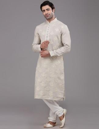 Beige linen kurta suit for festivals