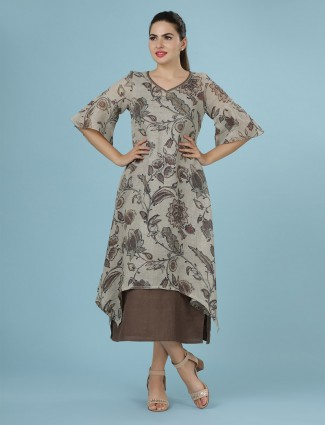 Beige linen kurti in printed design