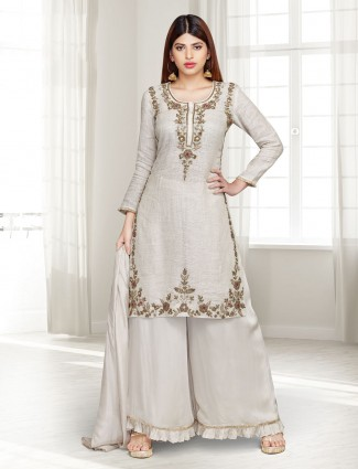 Beige linen party wear punjabi palazzo suit