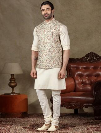 Beige mens waistcoat set in cotton