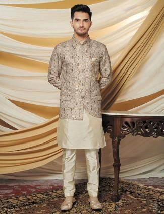 Beige mens waistcoat set in silk