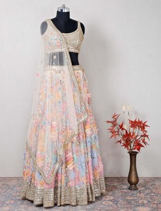 Beige net latest lehenga choli for wedding