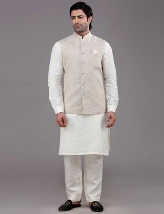 Beige party wear linen waistcoat set