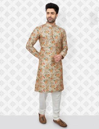 Beige printed cotton kurta suit in festive