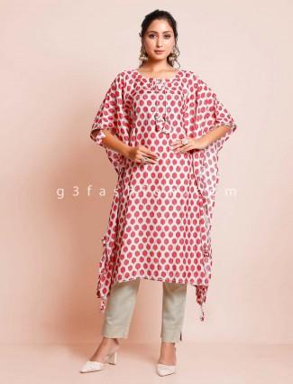 Beige printed cotton kurti in kaftan style