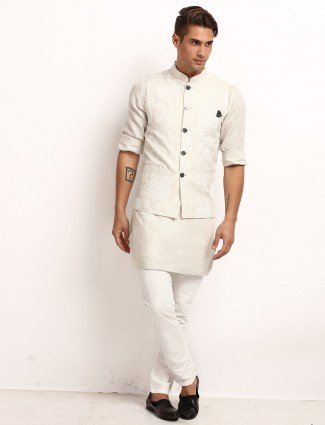 Beige printed cotton linen mens waistcoat set