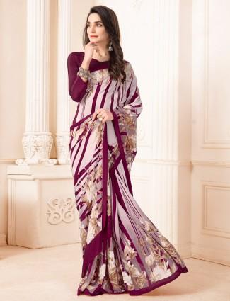 Onion pink printed festive wear crepe saree