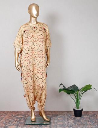 Beige printed georgette festive wear indowestern suit