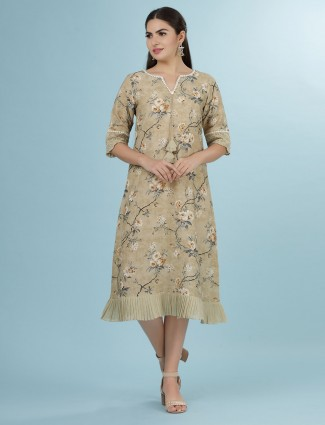 Beige printed linen fabric tunic