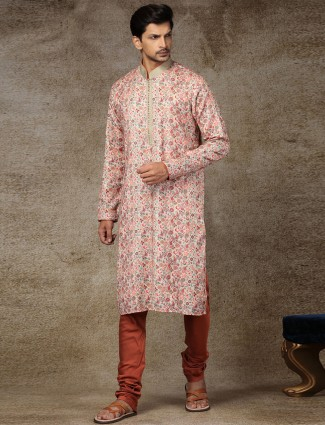Beige printed silk kurta suit for festive