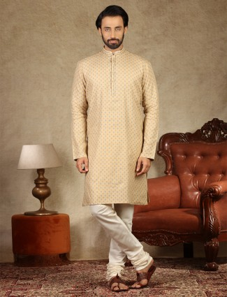 Beige printed style cotton mens kurta suit