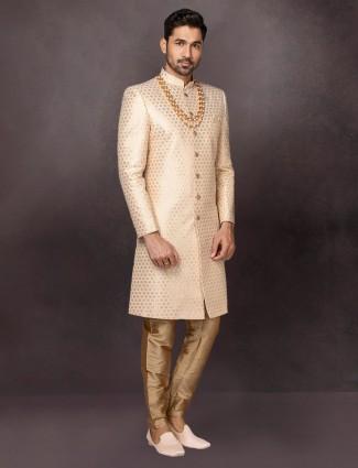 Beige raw silk wedding wear mens indo western