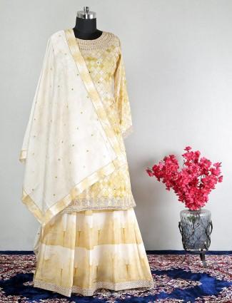 Beige salwar kameez for party function in cotton