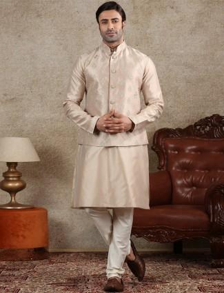 Beige silk mens waistcoat set for parties