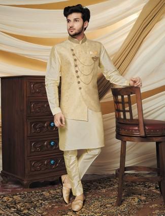 Beige silk waistcoat set idea for parties