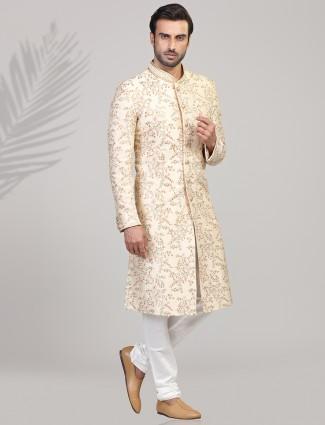 Beige silk wedding wear mens sherwani
