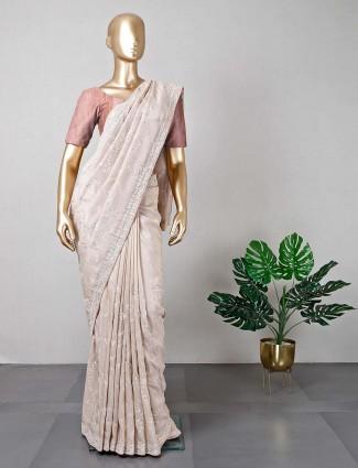 Beige silk wedding wear saree for women