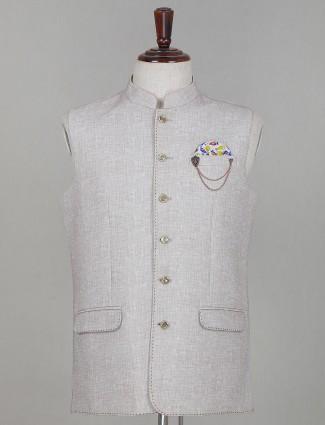 Beige solid party wear cotton waistcoat
