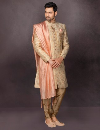 Beige terry rayon indo western for wedding