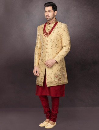 Beige terry rayon mens mens indo western