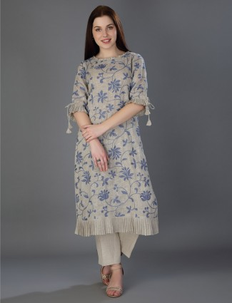 Beige thread weaving linen tunic
