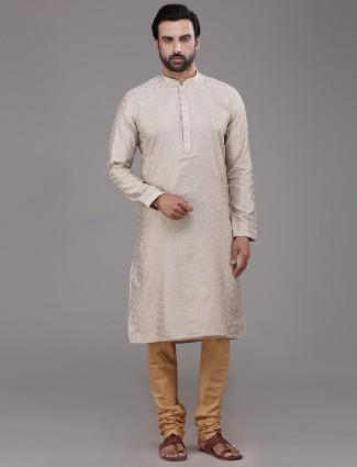 Beige thread work chanderi silk kurta suit
