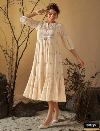 Beige thread work cotton kurti