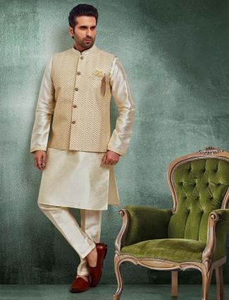 Beige thread work raw silk mens waistcoat set