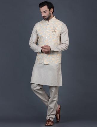 Beige thread woven cotton silk waistcoat set