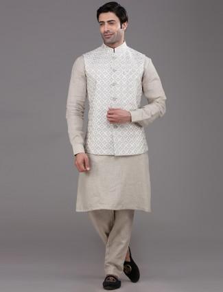 Beige thread woven linen waistcoat set for party