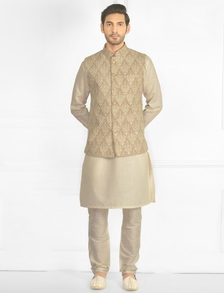 Beige tint wedding wear waistcoat set for mens